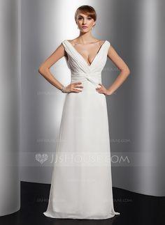 Evening Dresses - $129.99 - A-Line/Princess V-neck Floor-Length Chiffon Evening Dress With Ruffle (017014811) http://jjshouse.com/A-Line-Princess-V-Neck-Floor-Length-Chiffon-Evening-Dress-With-Ruffle-017014811-g14811