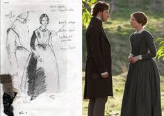 Because Jane Eyre (Mia Wasikowska) was a governess who wore somewhat of a uniform, O'Connor had his work cut out for him if he wanted to avoid having the main character blend in the background. He opted for cotton and linen fabrics, with subtle checkered patterns.