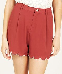 Rust & Cream Scalloped High-Waist Shorts by Sugarhill Boutique on #zulily