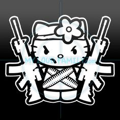 Hello Kitty with two AR15 Decal Sticker