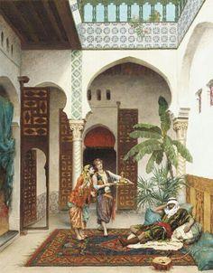 Algérie - Peintre Français  Pierre Outin(1839-1899), huile sur toile, Titre : Un moment de calme