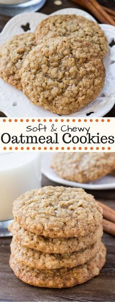 These chewy oatmeal cookies are soft, packed with texture, and have a delicious caramel flavor with a hint of cinnamon. These chewy oatmeal cookies are soft, packed with texture, and have a delicious caramel flavor with a hint of cinnamon. Köstliche Desserts, Delicious Desserts, Dessert Recipes, Yummy Food, Dinner Recipes, Soft Chewy Oatmeal Cookies, Oatmeal Cookie Recipes, Healthy Oatmeal Cookies, Oatmeal Peanut Butter Cookies