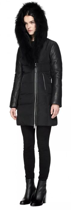 CORDELIA-BL MID LENGTH WINTER DOWN COAT WITH FUR COLLAR AND LEATHER SLEEVES IN BLACK