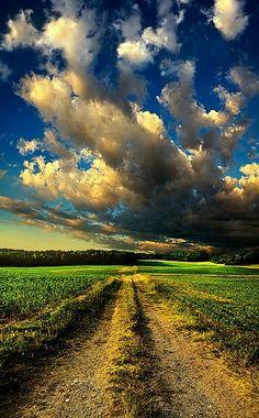 Humble Dirt Road, beneath a Majestic Sky