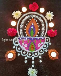 Simple Rangoli Designs Images, Beautiful Rangoli Designs, Art Designs, Diwali Decorations, Festival Decorations, Diwali Rangoli, Easy Rangoli, Kovalam, Flower Rangoli