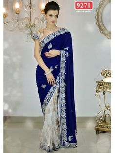 Blue with Grey Bollywood Replica Designer Party Wear Net Saree