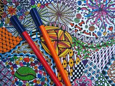Zendoodle Coloring Page - Zentangle Inspired - Digital Download - Coloring Page 1