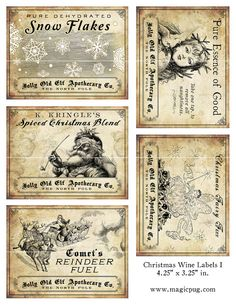 Antique Christmas Potion Labels 425 x 325 digital by magicpug, $12.00 really fun for all sorts of vintage!