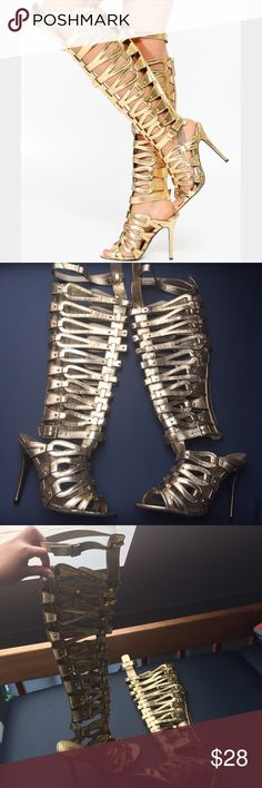 NWOT Gold Thigh High Gladiator Heels These are daring & never been worn 😎 they definitely can make any outfit a bold one! Gold color, with gold zippers & buckles, 5 inch heel, comes above the knee. Great for a night out with a little black dress or distressed denim shorts! Breckelles Shoes Heels