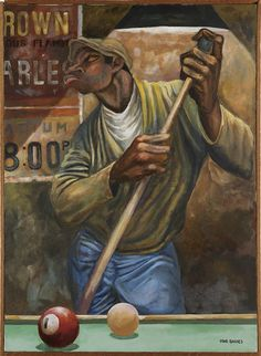 Ernie Barnes - Chalking the cue stick