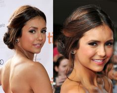 Nina Dobrev, hair pinned back