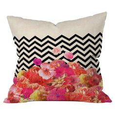 Throw pillow with a chevron motif by artist Bianca Green for DENY Designs. Made in the USA.  Product: PillowConstruction ...