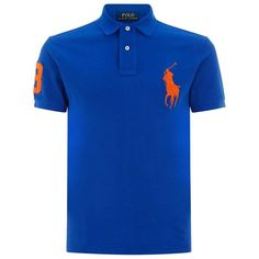Polo Ralph Lauren Big Pony Polo Shirt ($140) ❤ liked on Polyvore featuring men's fashion, men's clothing, men's shirts, men's polos, blue shirts, mens slim shirts, mens blue shirt, polo ralph lauren mens shirts, mens embroidered shirts and mens slim fit polo shirts