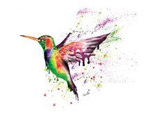 Humming Bird Print by SplatterInkArt on Etsy