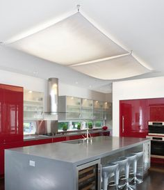 To cover up that kitchen light. Recessed fluorescent tube lights covered with a white fabric shade.