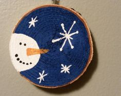 Birch Wood rustic ornament - hand painted - Snowman & Snowflakes