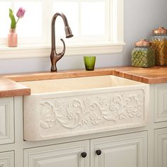 "30"" Polished Vine Design Marble Single Bowl Farmhouse Sink - Polished Cream Egyptian Marble"