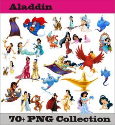 Aladdin Jasmin Abu Jafar 21 Collection PNG Vector Instant Download Disney Clipart Digital Albums Magnets Collages Greeting Cards Stickers by SlavGraphics on Etsy