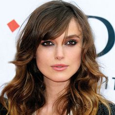 Keira Knightley side swept bangs and gorgeous wavy hair