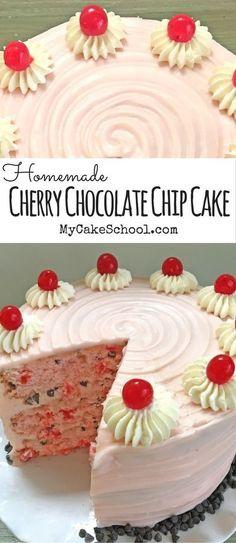 Cherry Chocolate Chip Cake Recipe by MyCakeSchool.com! SO moist and flavorful! #cake #cherrycake #cakerecipes