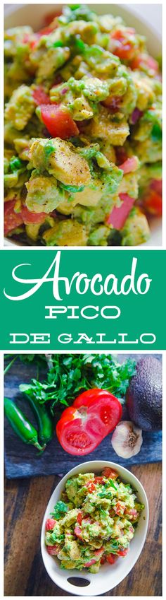 A Guac Salsa that isn't smashed together. This Avocado Pico De Gallo is folded together giving great texture, flavor and spice to any dish or as a dip!