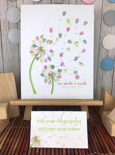 Need a unique way for guests to sign in at that dandelionthemed baby shower your hosting this afternoon Here it is ready when you are This is a great way to commemorate all the guests at a baby shower  birthday or other event. Have guests add their fingerprints and sign their names to fill in the dandelion seeds. Then you can frame it for a keepsake and add it to the nursery decor This fingerprint guestbook alternative features 2 dandelions originally hand drawn by me.    HOW DOES THIS… Baby Shower Signs, Baby Shower Themes, Shower Ideas, Teacher Appreciation Gifts, Teacher Gifts, Thumb Prints, Hand Prints, Guest Book Sign, Fathers Day Crafts