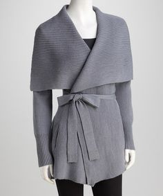 Take a look at this Beyond Threads Mercury Silver Belted Alpaca-Wool Blend Cardigan by Winter Luxury: Women's Apparel on #zulily today!