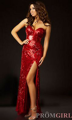 Long Strapless Sequin Dress at PromGirl.com