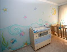 Mural fondo de Mar Girl Nursery, Girl Room, Toy Chest, Painted Furniture, Toddler Bed, House Design, Interior Design, Storage, Wall