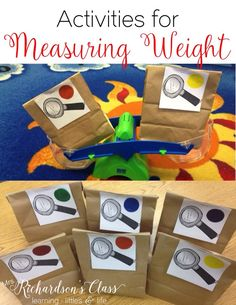 These measuring weight activities are sure to keep your kindergarten and first graders engaged! My students were GLUED to this lesson! This activity helps students compare and order according to the weight of the objects. Measurement Kindergarten, Measurement Activities, Math Measurement, Kindergarten Classroom, Kindergarten Activities, Fun Math, Teaching Math, Preschool Activities, September Activities