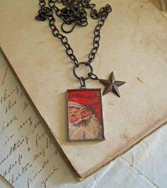 Vintage Santa Bevel Glass Necklace Star Charm by ThatOldBlueHouse2,