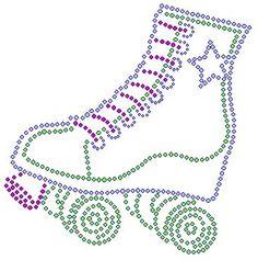 Roller skate rhinestone iron on transfer by TheBlingLady on Etsy
