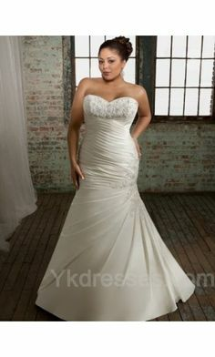 Satin Long Natural Wedding Dresses ykdress7926
