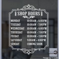 Barber Shop Hours | Stickertitans.com | Custom Business / Office / Shop / Salon / Restaurant Open Hour Vinyl Decal | Our Vinyl Signs are made from Oracal 651 | 470-585-2229
