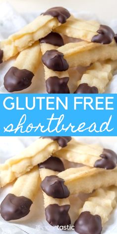 Best Ever Gluten Free Shortbread Cookies! They're delicious, vegan, easy and dipped in Chocolate! Gluten Free Shortbread Cookies, Cookies Sans Gluten, Dessert Sans Gluten, Gluten Free Biscuits, Gluten Free Cookie Recipes, Bon Dessert, Gluten Free Sweets, Gluten Free Cakes, Gluten Free Xmas Baking