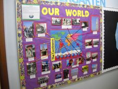spanish classroom decorations -- teacher & students bring pictures from where they've been Spanish Classroom Decor, Classroom Decor Themes, Classroom Displays, Future Classroom, School Classroom, Classroom Ideas, History Classroom, Classroom Door, Google Classroom