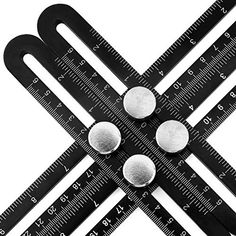Multi Angle Measuring Ruler - Housolution Aluminum Angle Template Tool, Four-sided Measuring Tool Angle Finder Protractor Layout Tool Angle Ruler for Handymen Builders Craftsmen Carpenter (Black)
