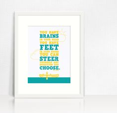 You Have Brains In Your Head DR SEUSS Quote by AngelaMaroskeDesign