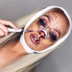 Pretty Halloween make-up ideas that inspire your costume. From sugar damage The post Pretty Halloween make-up ideas that inspire your costume. From sugar damage appeared first on Katzen. Maquillage Halloween Zombie, Halloween Zombie Makeup, Halloween Makeup Looks, Costume Halloween, Halloween Make Up Scary, Halloween 2019, Halloween City, Halloween Eyes, Halloween Inspo