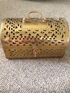 Brass jewelry box cricket box hinge lid w handle lock for Decorative crafts inc brass