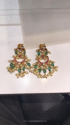 Latest Gold Pearl Earrings Designs, Gold Earrings with Pearls and Emeralds, Gold Emerald Earrings Designs.