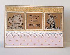 Welcome to the world little one. Kids Cards, Baby Cards, Marianne Design Cards, Love Cards, Cardmaking, Stampin Up, Craft Projects, Cute Animals, Paper