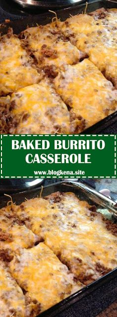 Baked burrito casserole easy recipes ad this hamburger tater tot casserole is comfort food at its best less than an hour from start to finish my family loves this ground beef casserole recipe! Fun Easy Recipes, Gourmet Recipes, Easy Meals, Cooking Recipes, Easy Recipes With Hamburger, Drink Recipes, Burrito Casserole, Breakfast Casserole, Mexican Dishes