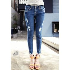 $8.81 Street Fashion Slim Fit Broken Hole Design Women's Denim Jeans