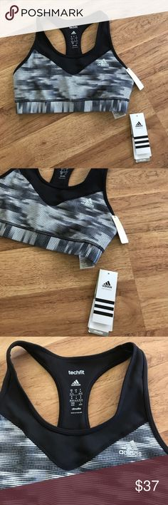 New Adidas Black & Gray Racerback Sports Bra ⚜️I love receiving offers through the offer button!⚜️ New with tags, as seen in pictures! Fast same or next day shipping!📨 Open to offers but I don't negotiate in the comments so please use the offer button😊 adidas Intimates & Sleepwear Bras