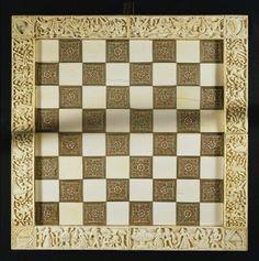 Chessboard (ebony, ivory & iron), Italian School, (15th century) / Museo Nazionale del Bargello, Florence, Italy / The Bridgeman Art Library