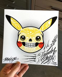 Pikachu uses Thundershock it's super effective!  Fun little custom doodle by Maxx242! #pikachu #pokemon #thundershock #dayofthedead #diadelosmuertos #pokemonart #pikachuart #doodle #penandink #maxx242 #fighting4dreams #f4dstudios #f4d by f4dstudios