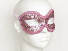 Shimmering Sequined  Pink Masquerade Mask   Venetian by SOFFITTA