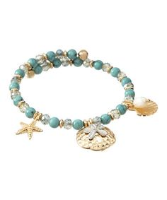 Look what I found on #zulily! Turquoise & Goldtone Beaded Coil Bracelet #zulilyfinds
