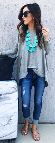 #spring #outfits Grey Oversized Top & Ripped Denim & Nude Sandals #casualoutfits